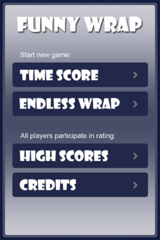 Main menu of the game