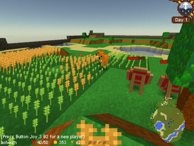 First person view of a crop field