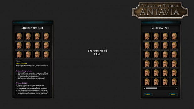 Create Character Layout