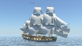 Concept Render: Full-rigged ship