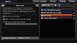 Quests inside the quest menu