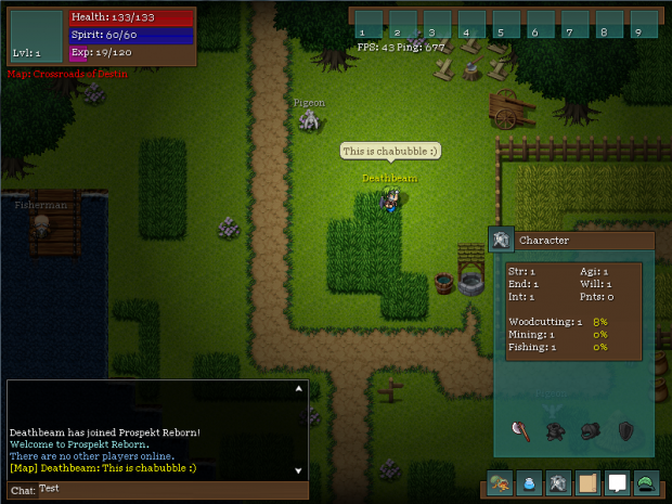 Chatbubbles, Character screen, Chatbox