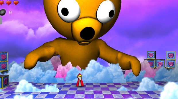 Giant Teddy bear  LittleRed demo level in progress