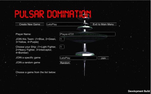Pulsar - Game Lobby Selection Menu