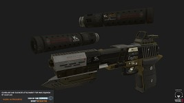 Pistol silencer and muzzle gunblade extenstion