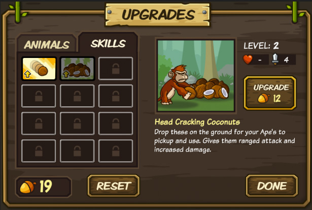 Lumberwhack Upgrade Menu -Skills