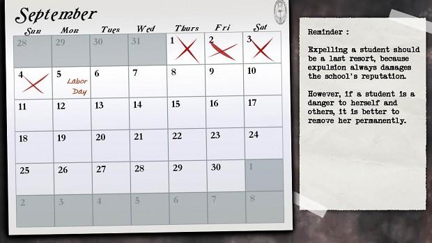 Calendar / Hint Screen