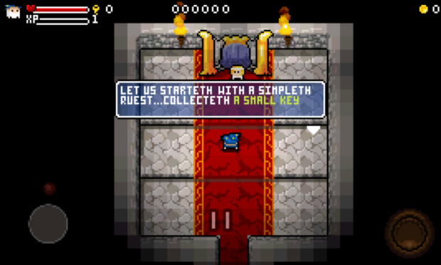 Early dev screen of the Quest hall