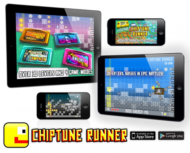 Chiptune Runner for iOS and Android devices!