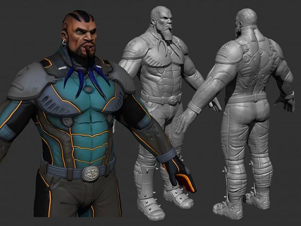 Derek models and sculpt.