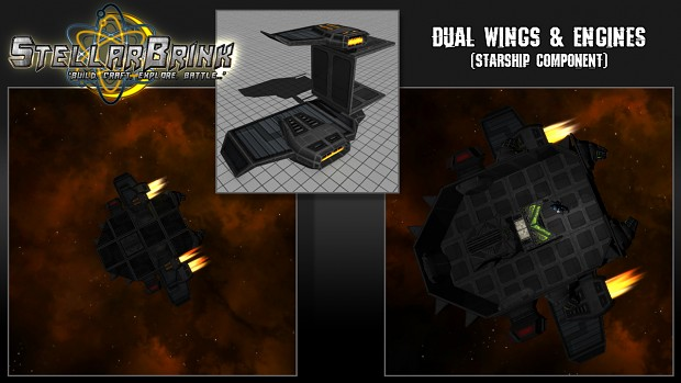 Dual Wings & Engines Starship Component