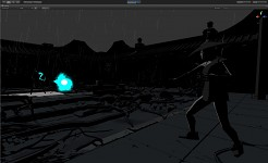 Working on comic shader and effects blocking