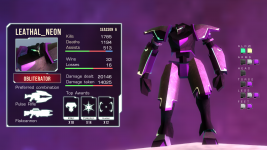Player card and mech customization concept