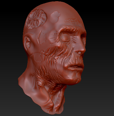 Zombie head hipoly
