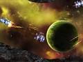 Battle in asteroid field