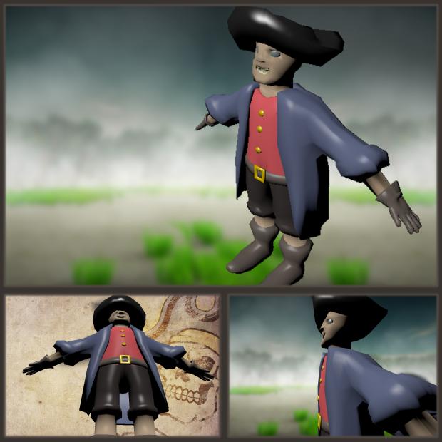 WIP screenshots of the Pirate model