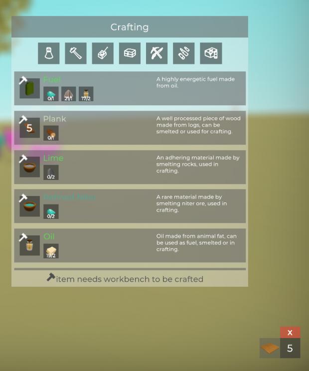 Crafting UI