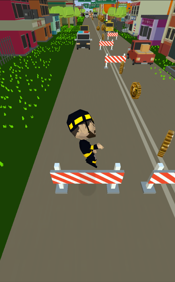 This showcases a player jumping over an obstacle.