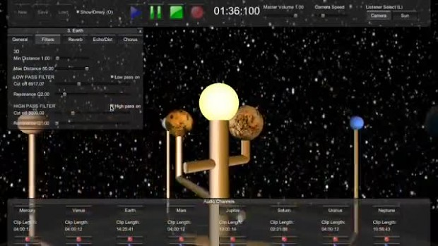 Orrery - 3D music software based on solar system