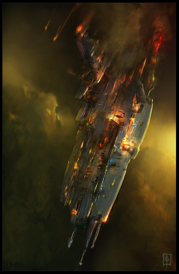 burning space yacht/wreck