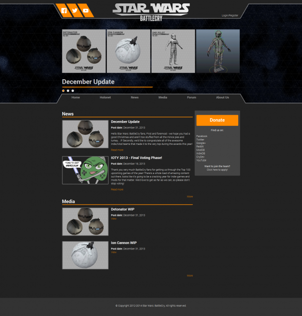 New homepage (new website progress Feb 2014)