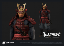 3D render of Samurai in red armour