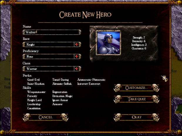 Create Hero Screen