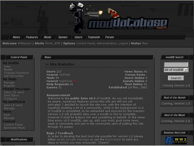 2002 to 2004 - Mod DB v0.5 to v1.5