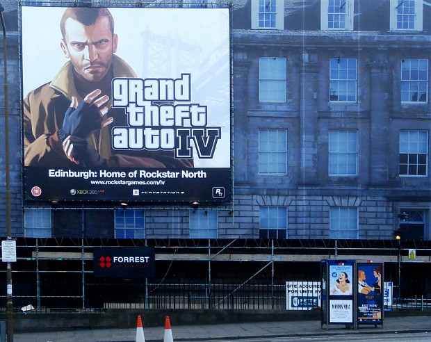 GTA IV Advert in Edinburgh Home of Rockstar North