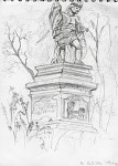 Plein air statue drawing