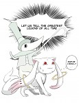 Kyubey meets the Legendary Holy Sword Excalibur