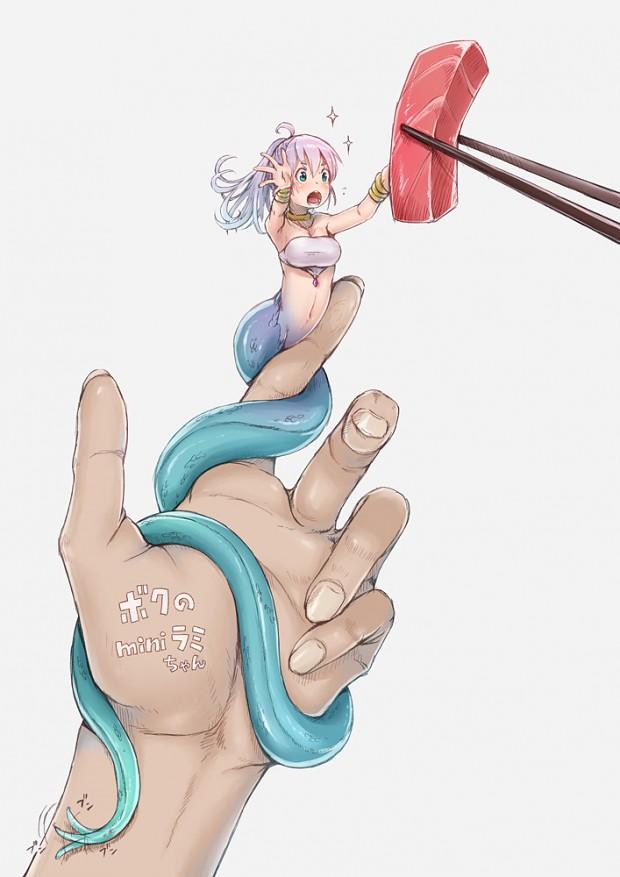 Water frozen hentai naga snake girl