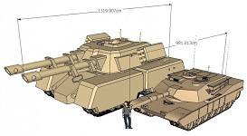 Mammoth tank, Abrams size comparison