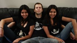 Some girls wearing Wolfire Games t-shirts