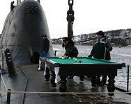 Making a good use of the submarine's deck...