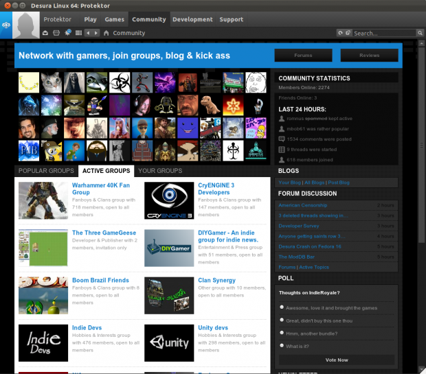 Desura on Linux Community Tab