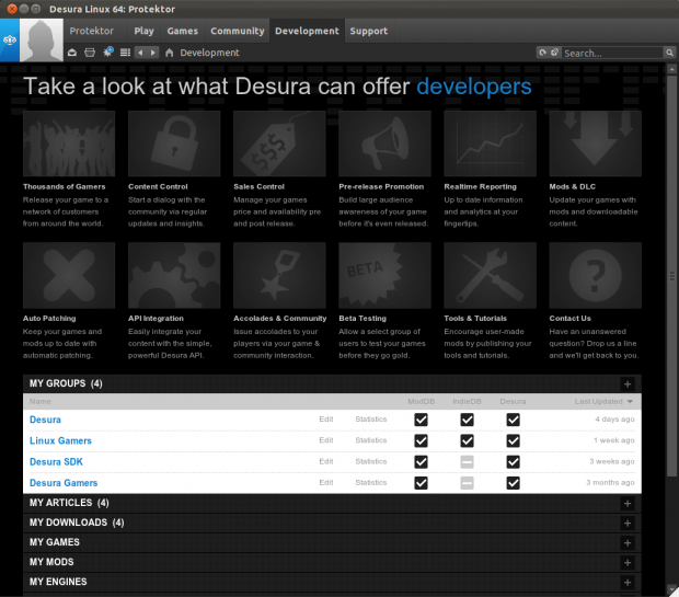 Desura on Linux Development Tab