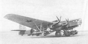 TB-3-4АМ-34FRN bomber with 2 I-16 fighters