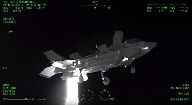 Hovering F35-B on FLIR