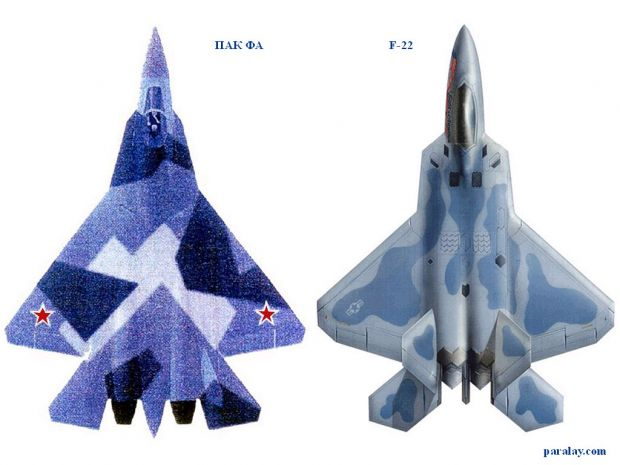 T-50 and F-22 visual comparation