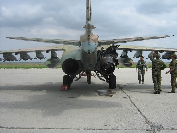 Su-25 damaged by MANPADS.