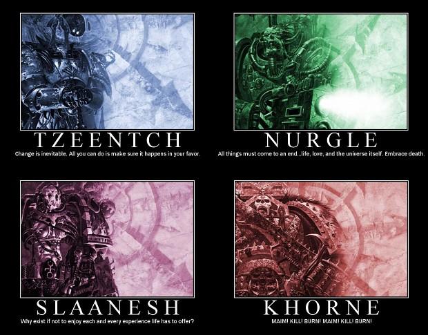 The Chaos gods summarized. image - Warhammer 40K Fan Group ...Warhammer 40k Chaos Gods Names