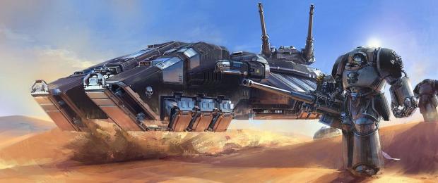 Iron Hands Astraeus grav tank eager to crush heretics into paste