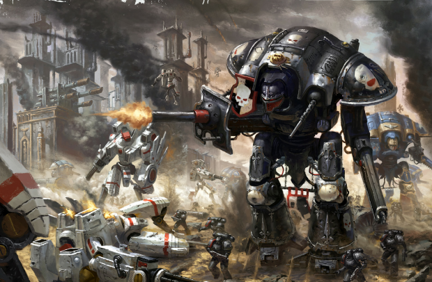 Imperial Knights defending a fortress against waves of Riptides