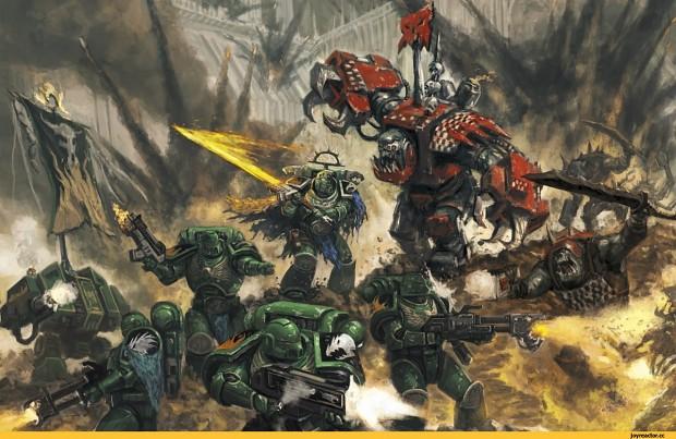 Salamanders fighting a horde of Orks