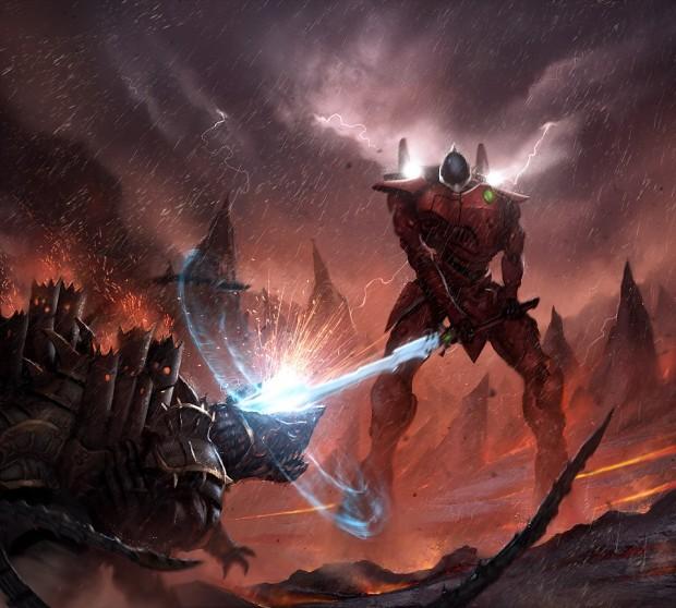 Eldar Wraithknight puts down a monstrous foe