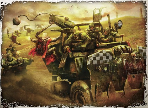 2 guardsmen and Artisian looting a ork vehicle