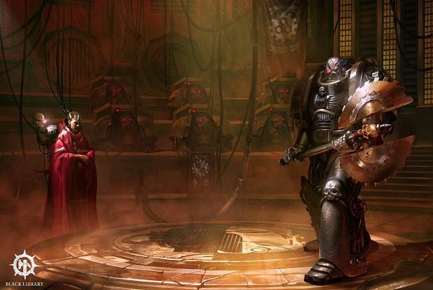Iron Father Kardan Stronos standing before council of Clan Raukaan