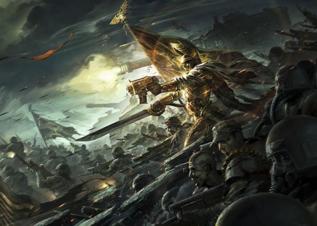 Macharius leeds his men into battle.