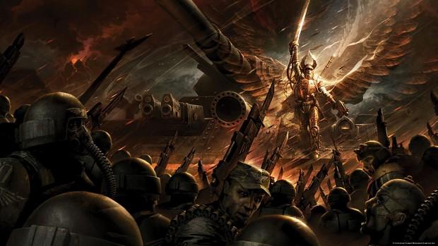 Macharius inspires his troops.